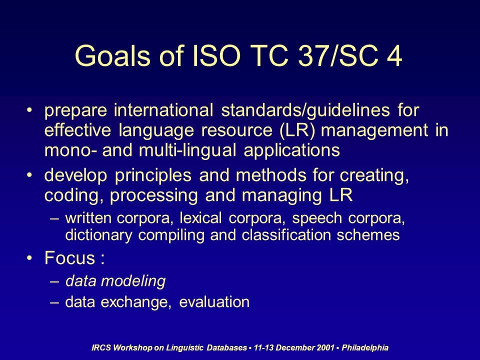 IRCS Workshop on Linguistic Databases 11-13 December 2001 Philadelphia Goals of ISO TC 37/SC 4 prepare international standards/guidelines for effectiv