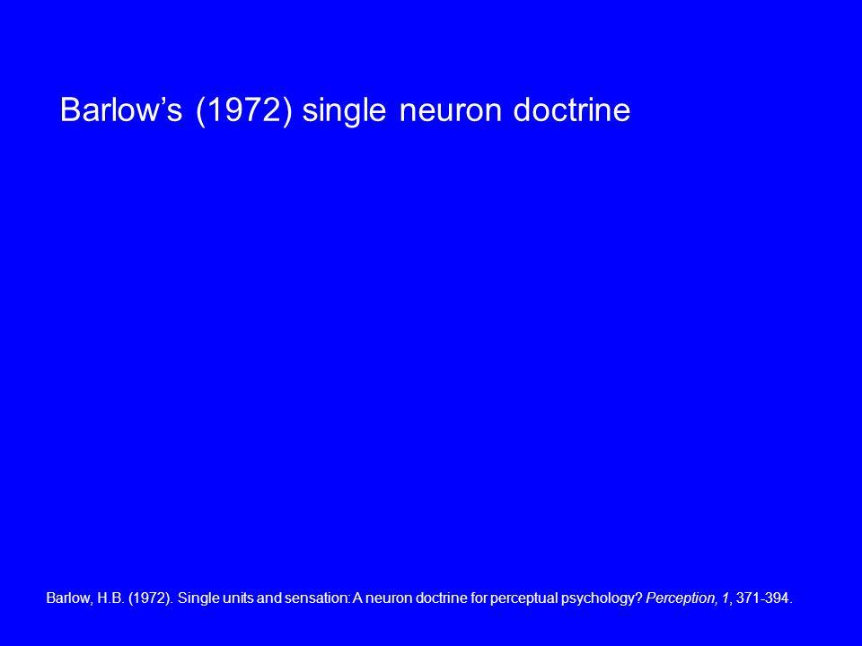 Barlows (1972) single neuron doctrine Barlow, H.B.