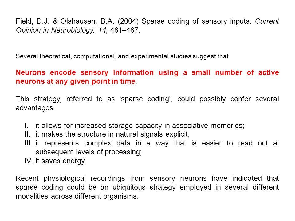 Field, D.J. & Olshausen, B.A. (2004) Sparse coding of sensory inputs.