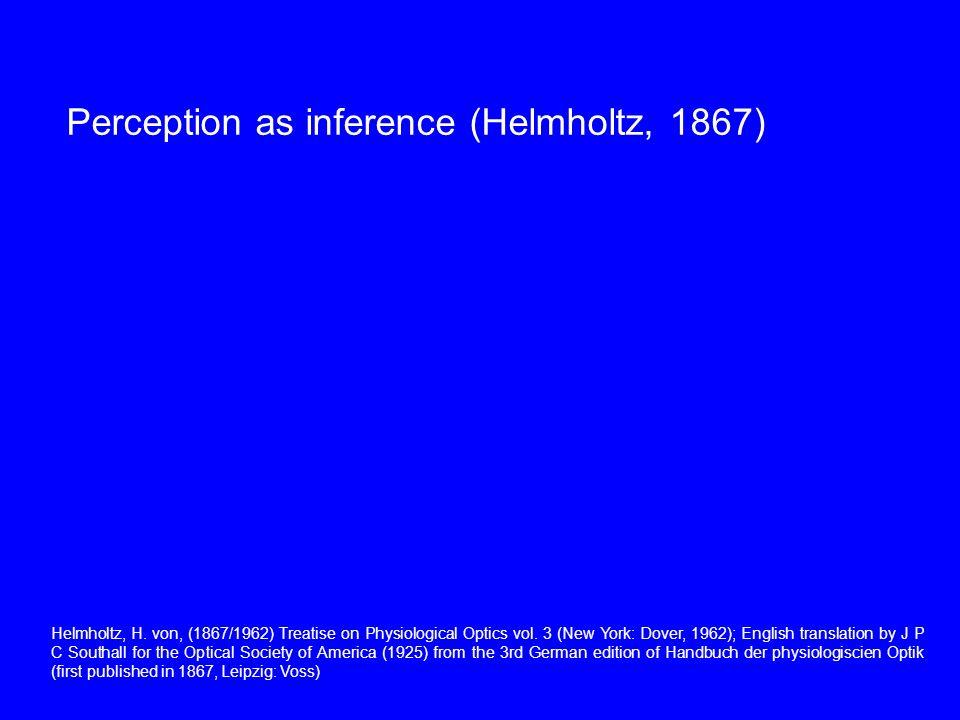 Perception as inference (Helmholtz, 1867) Helmholtz, H.