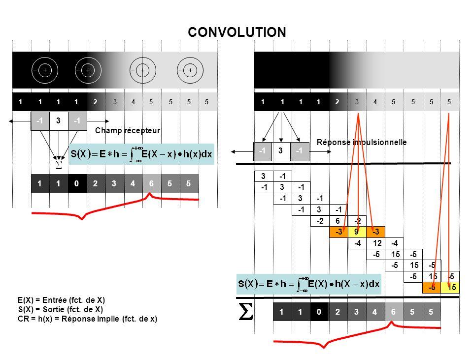 1 1 1 1 2 3 4 5 5 5 5 Champ récepteur 3 110234655 1 1 1 1 2 3 4 5 5 5 5 Réponse impulsionnelle 3 110234655 3 3 3 -26 -39 -412-4-515-5 15-5 153 -5 15 CONVOLUTION E(X) = Entrée (fct.