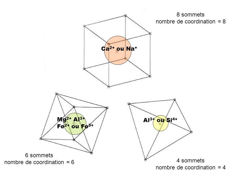 Ca 2+ ou Na + Al 3+ ou Si 4+ Mg 2+ Al 3+ Fe 2+ ou Fe 3+ 8 sommets nombre de coordination = 8 4 sommets nombre de coordination = 4 6 sommets nombre de