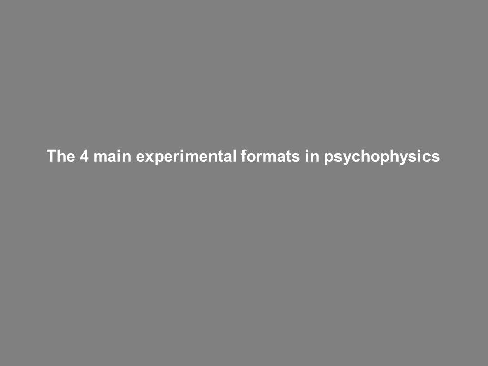 The 4 main experimental formats in psychophysics