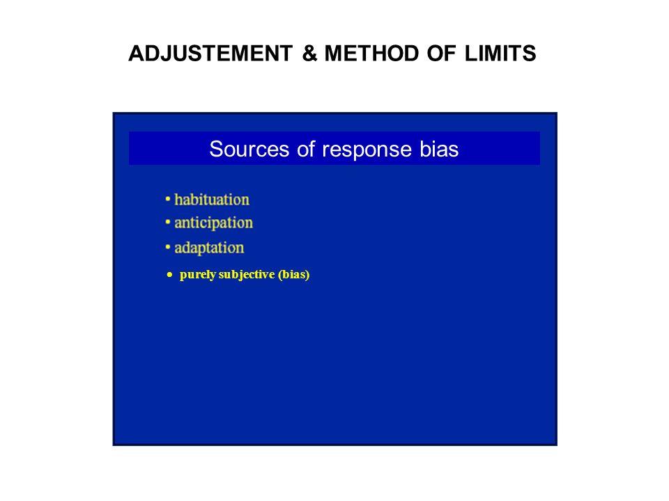 ADJUSTEMENT & METHOD OF LIMITS Sources of response bias purely subjective (bias)