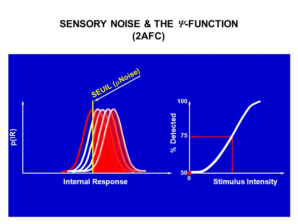 SENSORY NOISE & THE -FUNCTION (2AFC) p(IR) Internal Response SEUIL ( Noise) % Detected Stimulus Intensity 100 50 75 0