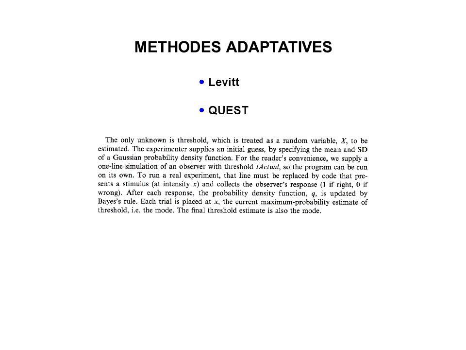 METHODES ADAPTATIVES Levitt QUEST