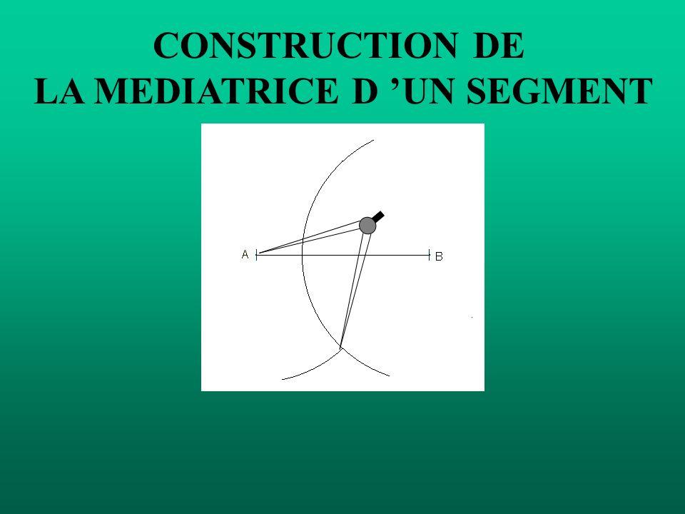 CONSTRUCTION DE LA MEDIATRICE D UN SEGMENT Mettre la pointe du compas sur A et tracer un demi-cercle.
