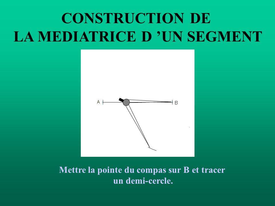CONSTRUCTION DE LA MEDIATRICE D UN SEGMENT Prendre un écartement de compas plus grand que la moitié de la longueur du segment.
