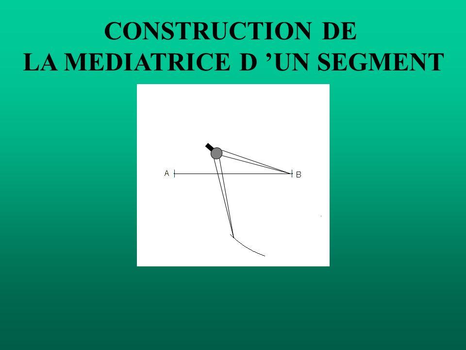 CONSTRUCTION DE LA MEDIATRICE D UN SEGMENT Mettre la pointe du compas sur B et tracer un demi-cercle.