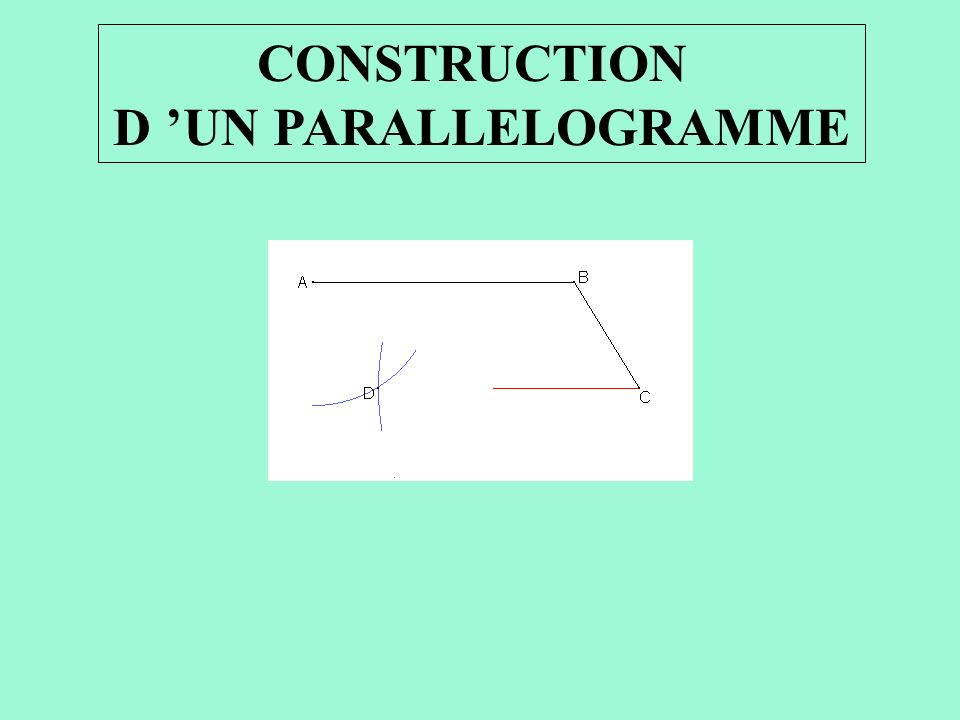 CONSTRUCTION D UN PARALLELOGRAMME