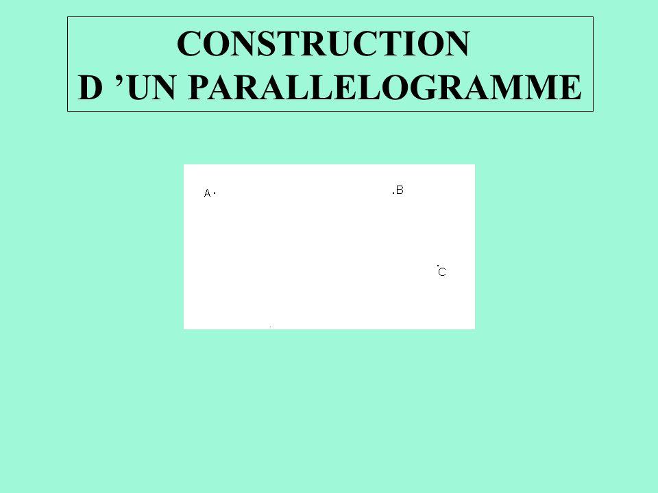 CONSTRUCTION D UN PARALLELOGRAMME On veut tracer le parallélogramme ABCD. Attention : Il faut imaginer dans sa tête à quel endroit le point D se place