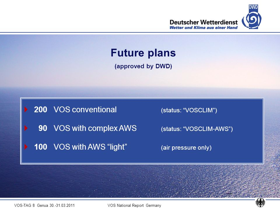 VOS-TAG 8 Genua 30.-31.03.2011 VOS National Report Germany Future plans (approved by DWD) 200 VOS conventional (status: VOSCLIM) 90 VOS with complex AWS (status: VOSCLIM-AWS) 100 VOS with AWS light (air pressure only)