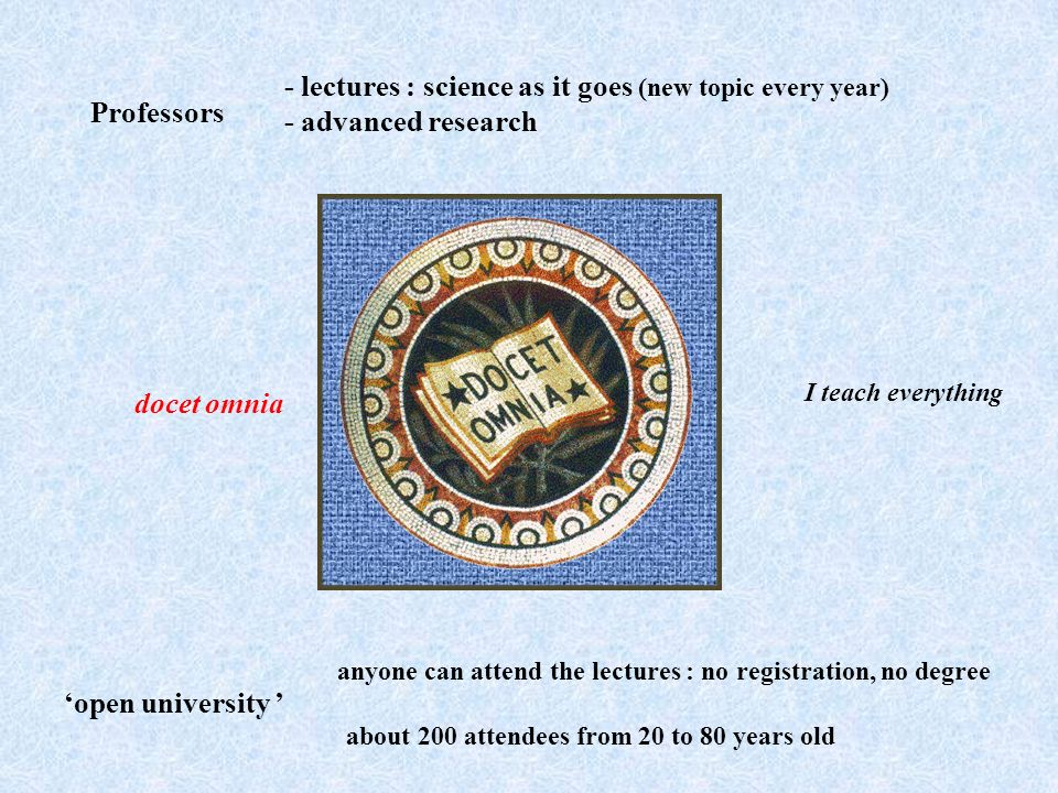 - lectures : science as it goes (new topic every year) - advanced research about 200 attendees from 20 to 80 years old open university anyone can atte