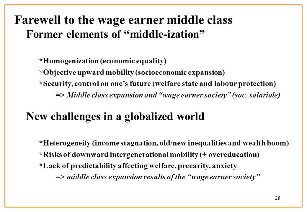 28 Former elements of middle-ization *Homogenization (economic equality) *Objective upward mobility (socioeconomic expansion) *Security, control on on