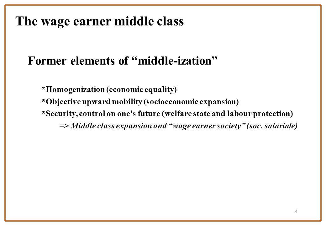 4 Former elements of middle-ization *Homogenization (economic equality) *Objective upward mobility (socioeconomic expansion) *Security, control on one