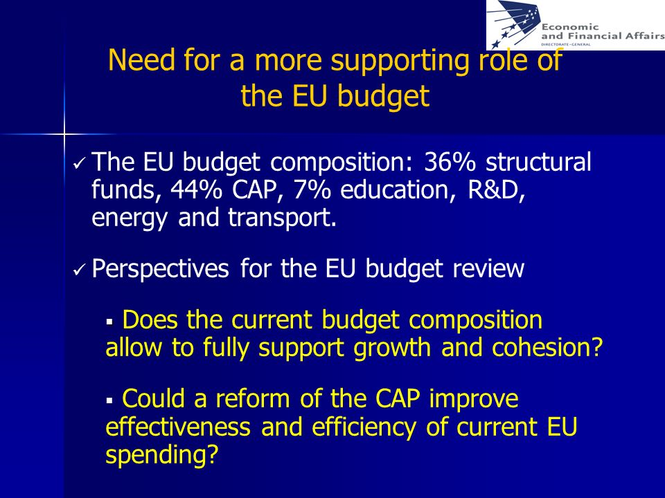 Need for a more supporting role of the EU budget The EU budget composition: 36% structural funds, 44% CAP, 7% education, R&D, energy and transport. Pe