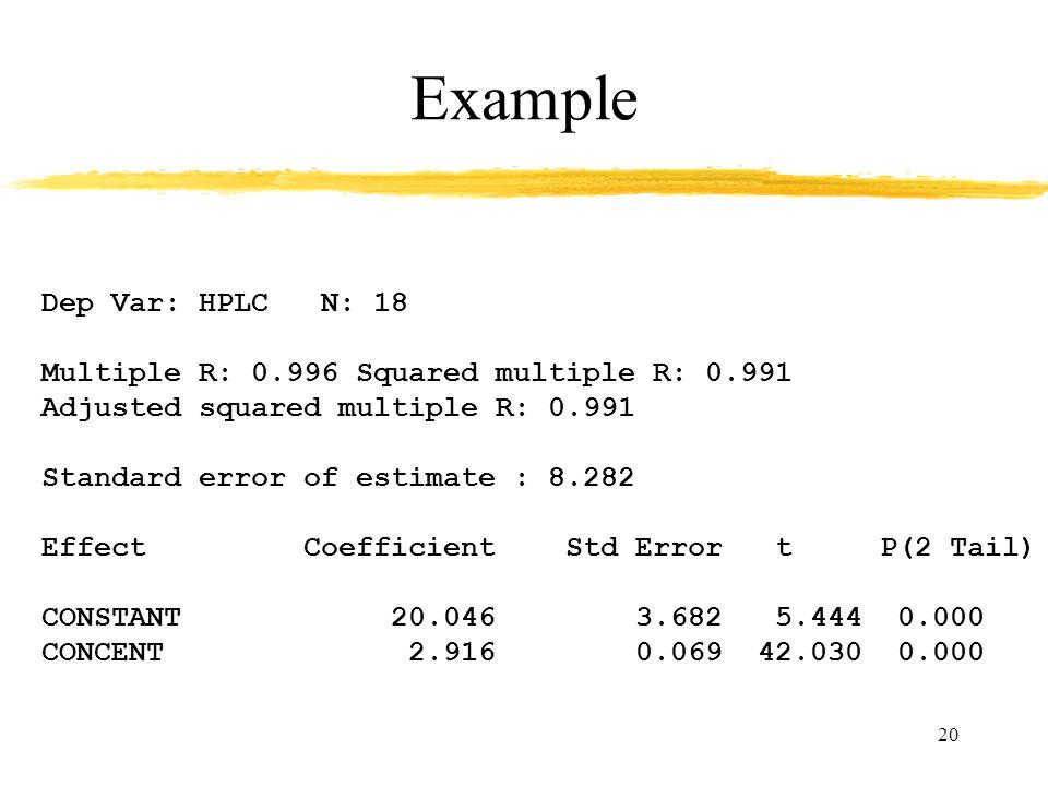 20 Example Dep Var: HPLC N: 18 Multiple R: 0.996 Squared multiple R: 0.991 Adjusted squared multiple R: 0.991 Standard error of estimate : 8.282 Effect Coefficient Std Error t P(2 Tail) CONSTANT 20.046 3.682 5.444 0.000 CONCENT 2.916 0.069 42.030 0.000