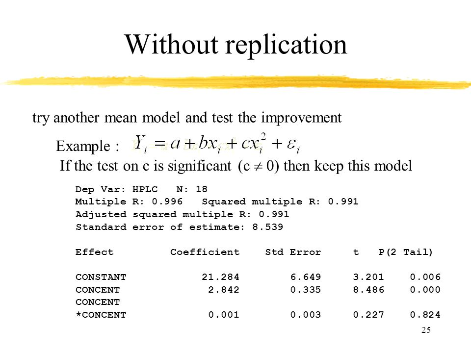 25 Without replication Example : try another mean model and test the improvement If the test on c is significant (c 0) then keep this model Dep Var: H