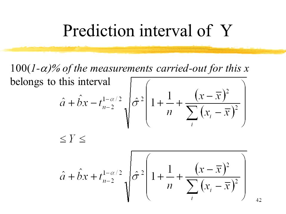 42 Prediction interval of Y 100(1- of the measurements carried-out for this x belongs to this interval