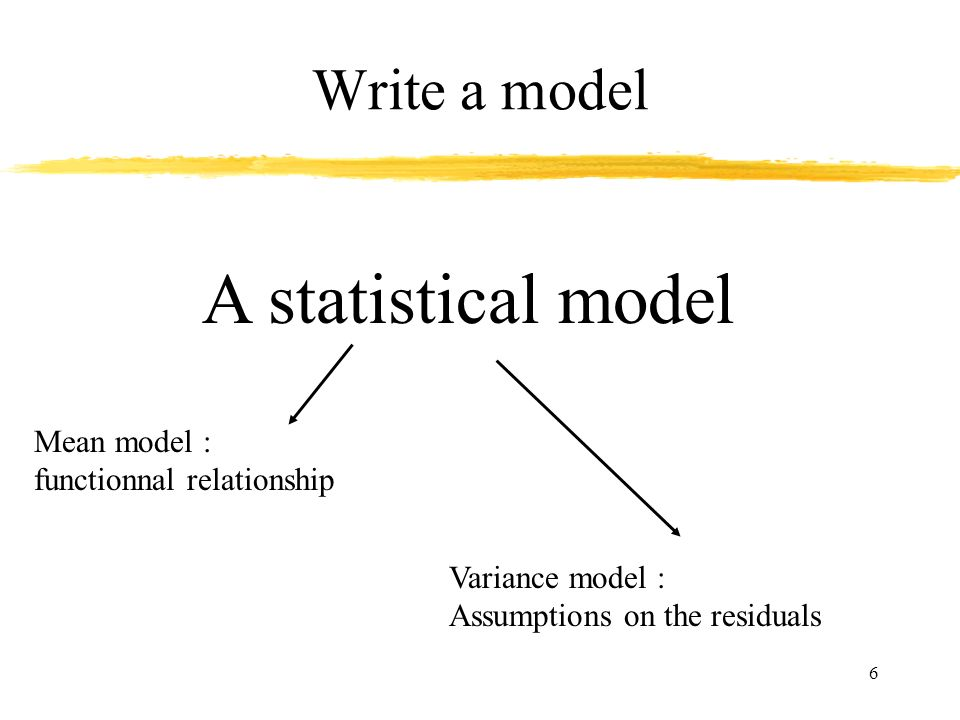 6 Write a model A statistical model Mean model : functionnal relationship Variance model : Assumptions on the residuals