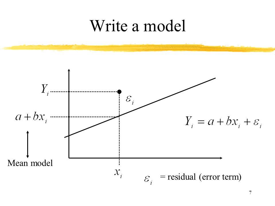 7 Write a model = residual (error term) Mean model
