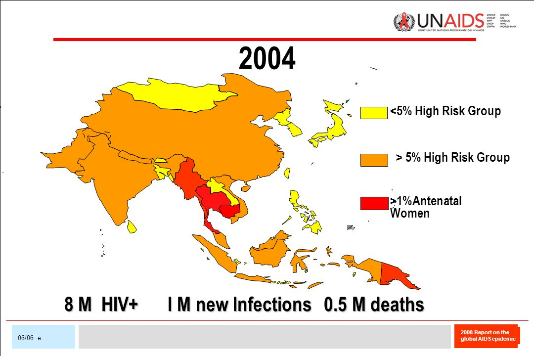 2008 Report on the global AIDS epidemic 06/06 e 2004 <5% High Risk Group > 5% High Risk Group >1%Antenatal Women 8 M HIV+ I M new Infections 0.5 M dea