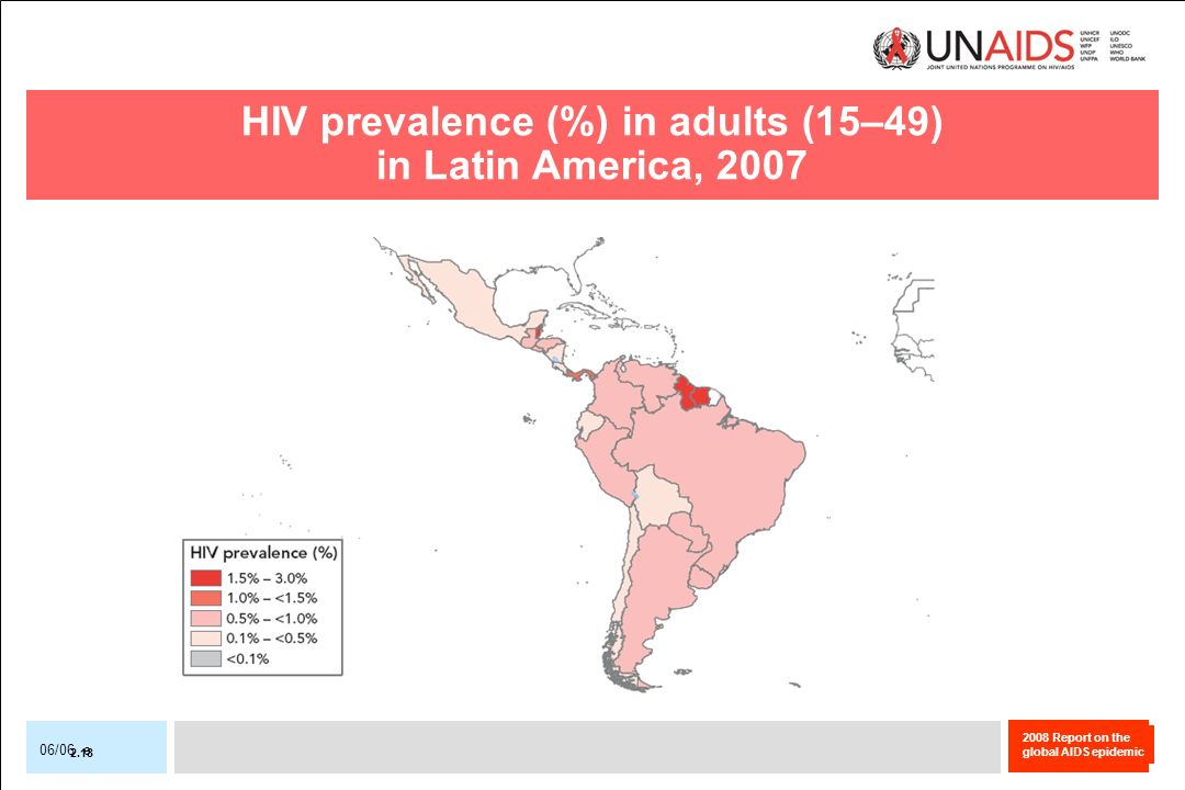 2008 Report on the global AIDS epidemic 06/06 e HIV prevalence (%) in adults (15–49) in Latin America, 2007 2.18