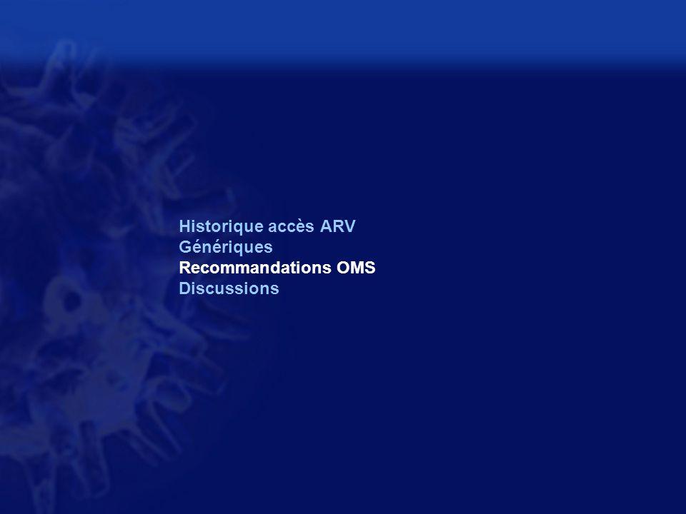 Historique accès ARV Génériques Recommandations OMS Discussions