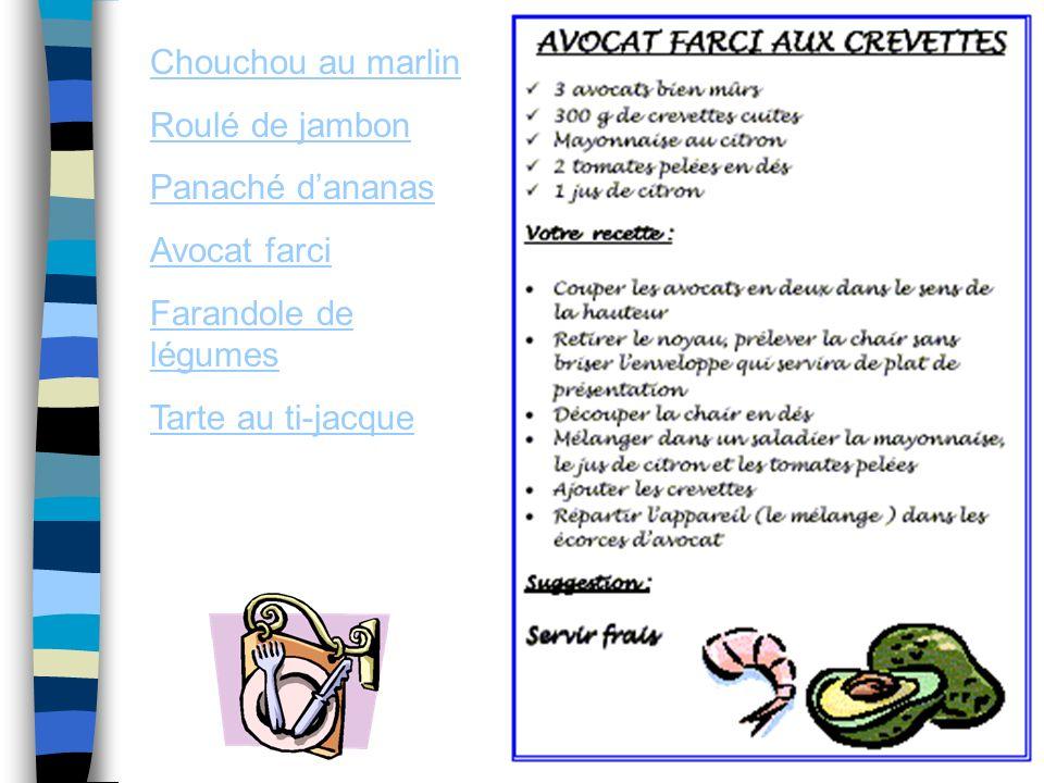 Chouchou au marlin Roulé de jambon Panaché dananas Avocat farci Farandole de légumes Tarte au ti-jacque