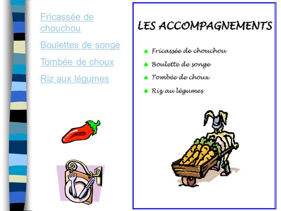 Fricassée de chouchou Boulettes de songe Tombée de choux Riz aux légumes
