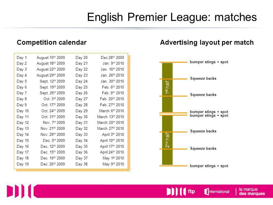 Competition calendarAdvertising layout per match 1 st half 2 nd half bumper stings + spot English Premier League: matches Squeeze backs Day 1August 15 th 2009Day 20Dec 28 th 2009 Day 2August 18 th 2009Day 21Jan.