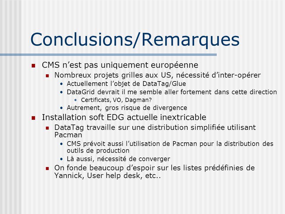 Conclusions/Remarques CMS nest pas uniquement européenne Nombreux projets grilles aux US, nécessité dinter-opérer Actuellement lobjet de DataTag/Glue DataGrid devrait il me semble aller fortement dans cette direction Certificats, VO, Dagman.