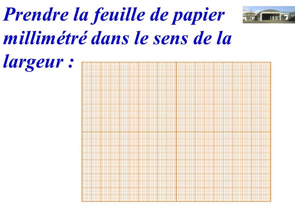 Prendre la feuille de papier millimétré dans le sens de la largeur :