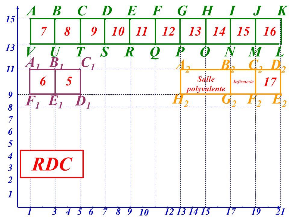 A 15 BCDEFGHIJK L 13 MNOPQRSTUV A1A1 11 B1B1 C1C1 3 F1F1 1 A2A2 B2B2 C2C2 D2D2 E2E2 F2F2 G2G2 17 H2H2 13 9 7 12 3 10 9 2 87654 8 1915 6 5 2114 1 4 E1E1 78910111213141516 17 Salle polyvalente Infirmerie 65 D1D1 RDC