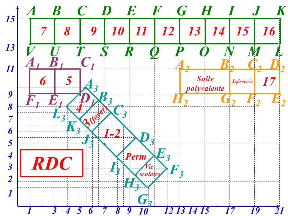 A 15 BCDEFGHIJK L 13 MNOPQRSTUV A1A1 11 B1B1 C1C1 3 F1F1 1 A2A2 B2B2 C2C2 D2D2 E2E2 F2F2 G2G2 17 H2H2 13 9 A3A3 B3B3 C3C3 7 D3D3 E3E3 F3F3 12 3 10 9 2 87654 8 1915 6 5 2114 1 4 D1D1 E1E1 L3L3 K3K3 J3J3 I3I3 H3H3 G3G3 78910111213141516 17 Salle polyvalente Infirmerie 65 4 3 (foyer) 1-2 Perm Vie scolaire RDC