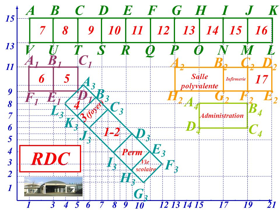 3 (foyer) 15 13 11 311713 9 7 12 3 10 9 2 87654 8 A4A4 1915 6 5 2114 1 4 B4B4 C4C4 D4D4 RDC ABCDEFGHIJK LMNOPQRSTUV 78910111213141516 A2A2 B2B2 C2C2 D2D2 E2E2 F2F2 G2G2 H2H2 17 Salle polyvalente Infirmerie A1A1 B1B1 C1C1 F1F1 D1D1 E1E1 65 Administration Vie scolaire A3A3 B3B3 C3C3 D3D3 E3E3 F3F3 L3L3 K3K3 J3J3 I3I3 H3H3 G3G3 4 1-2 Perm