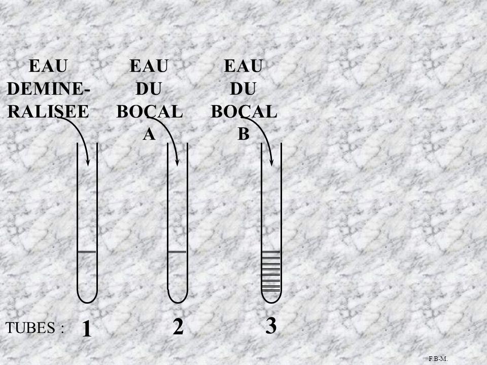 TUBES : 1 3 2 EAU DU BOCAL A EAU DU BOCAL B EAU DEMINE- RALISEE F.B-M.