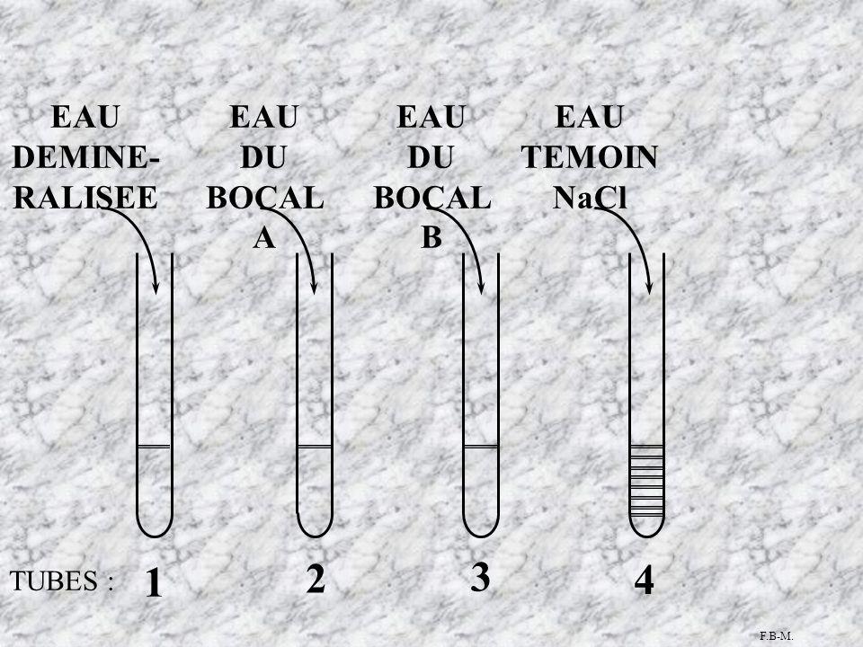 TUBES : 1 4 3 2 EAU DU BOCAL A EAU DU BOCAL B EAU TEMOIN NaCl EAU DEMINE- RALISEE F.B-M.