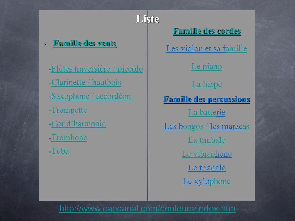 Famille des vents Famille des vents Famille des vents Famille des vents Flûtes traversière / piccolo Clarinette / hautbois Saxophone / accordéon Tromp