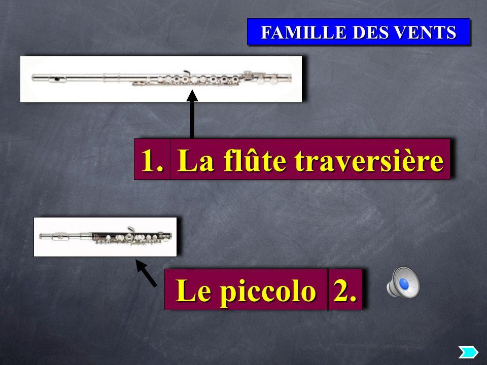 FAMILLE DES VENTS 1.1. Le piccolo La flûte traversière 2.2.