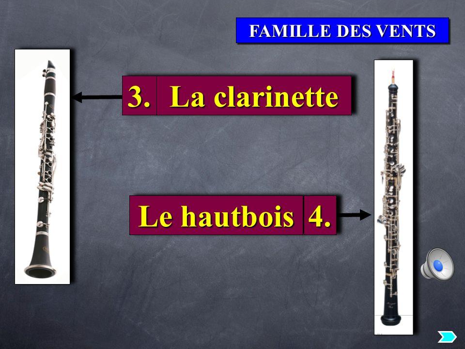 FAMILLE DES VENTS 3.3. La clarinette Le hautbois 4.4.