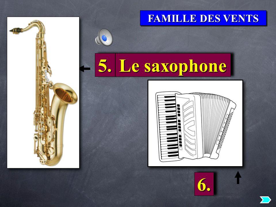 FAMILLE DES VENTS 5.5. Le saxophone 6.6.