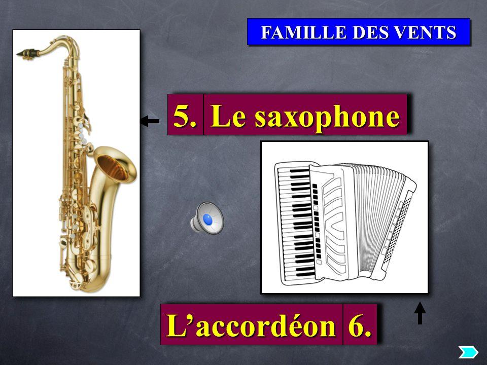 FAMILLE DES VENTS 5.5. Le saxophone LaccordéonLaccordéon6.6.