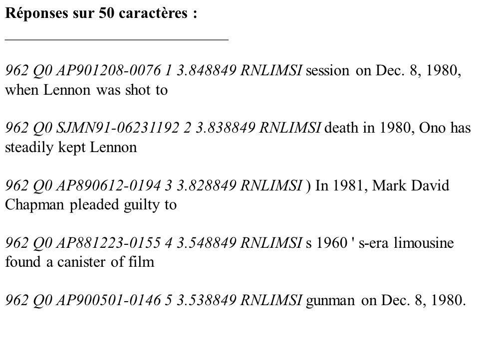 Réponses sur 50 caractères : ____________________________ 962 Q0 AP901208-0076 1 3.848849 RNLIMSI session on Dec. 8, 1980, when Lennon was shot to 962
