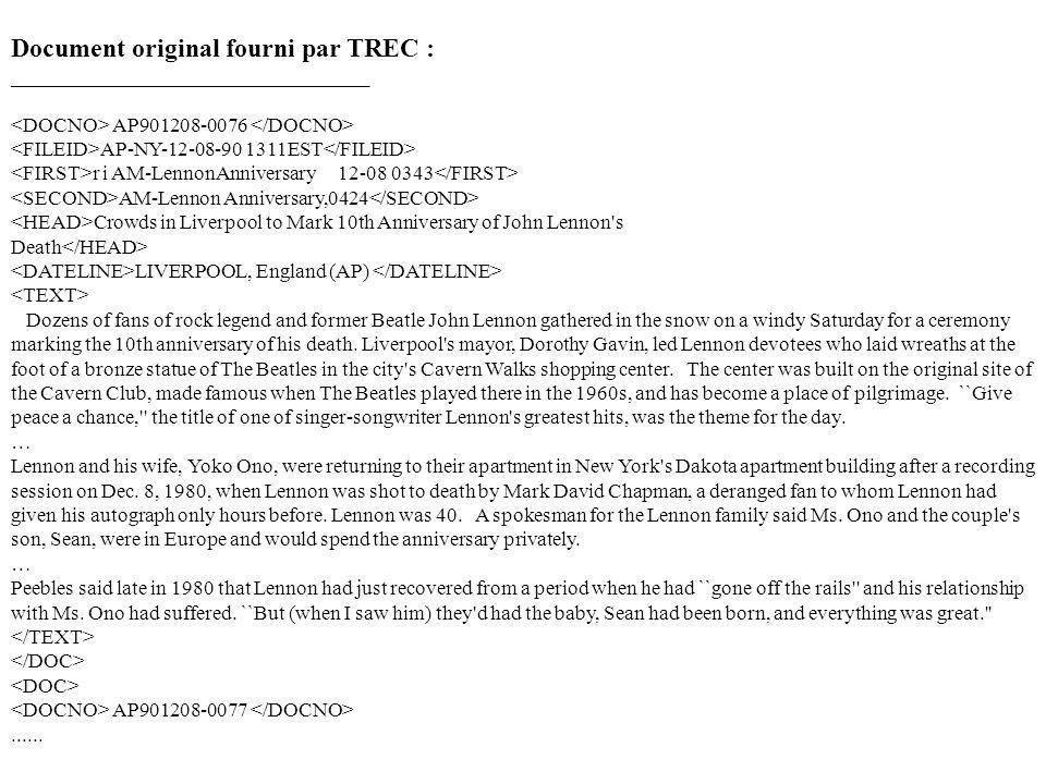 Document original fourni par TREC : ___________________________________ AP901208-0076 AP-NY-12-08-90 1311EST r i AM-LennonAnniversary 12-08 0343 AM-Le
