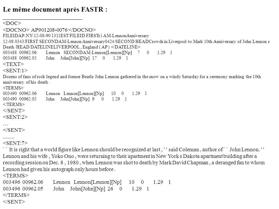 Le même document après FASTR : _____________________________ AP901208-0076 FILEIDAP-NY-12-08-90 1311EST/FILEID FIRSTr i AM-LennonAnniversary 12-08 034
