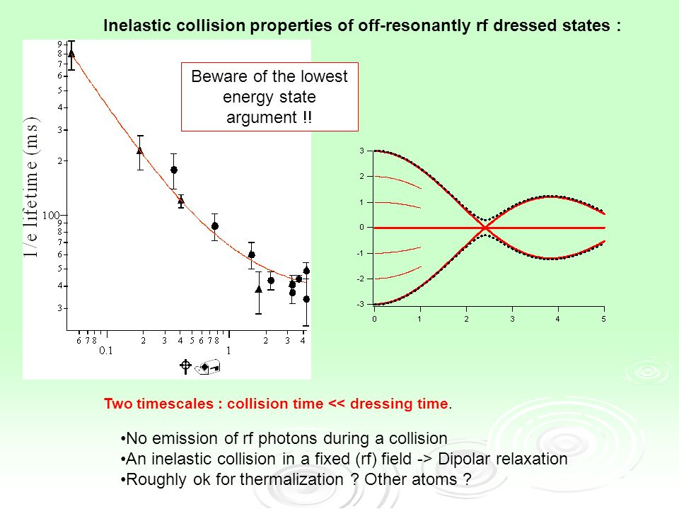 No emission of rf photons during a collision An inelastic collision in a fixed (rf) field -> Dipolar relaxation Roughly ok for thermalization .