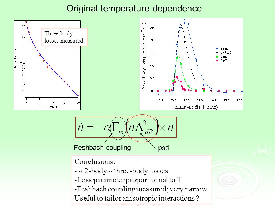 Three-body losses measured Original temperature dependence Conclusions: - « 2-body » three-body losses.