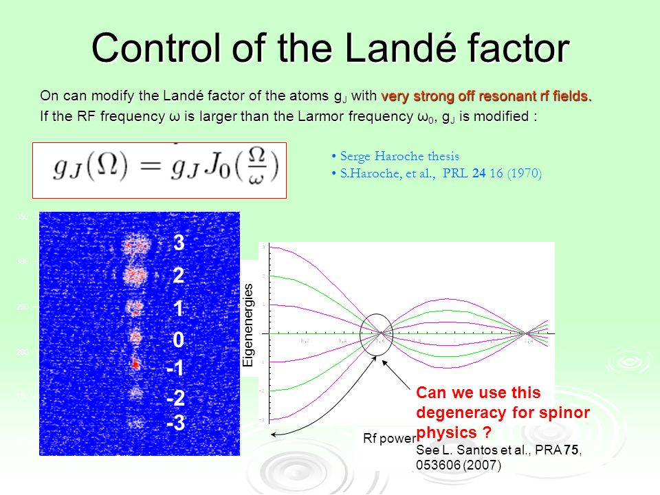 Control of the Landé factor On can modify the Landé factor of the atoms g J with very strong off resonant rf fields.
