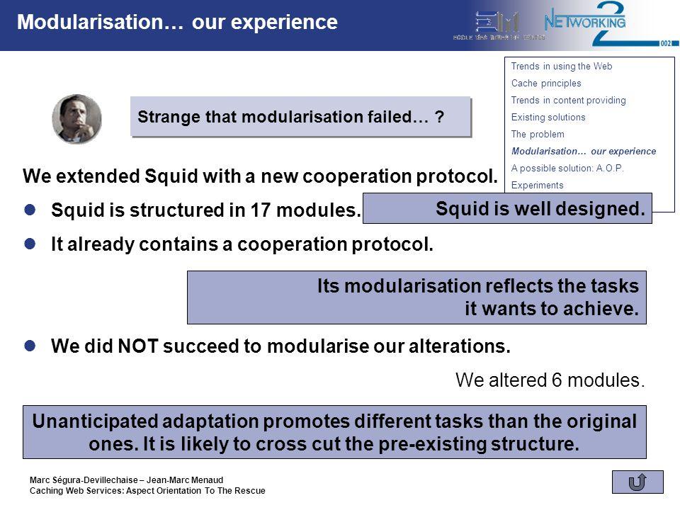 Marc Ségura-Devillechaise – Jean-Marc Menaud Caching Web Services: Aspect Orientation To The Rescue A possible solution: A.O.P.